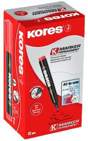 Kores K-Marker Permanent Markers Round Tip - Red (Box of 12)