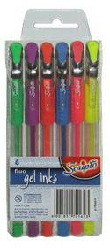 Scripto Fluo Gel Ink Pens (Wallet of 6 Colours)