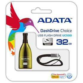 Adata 32GB UC500 USB 2.0 Flash Drive - Gold