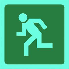 Tower Photoluminescent Sign - Man Running Left (Small)