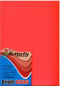 Butterfly A4 Bright Board 10s - Red
