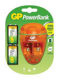 GP Batteries 9V NiMH Rechargeable Batteries and Charger Bundle