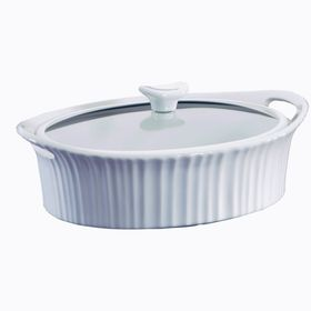 French White III Oval Casserole with Quite Close Glass Cover - 2.35 Litre