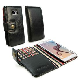 Tuff-Luv Alston Craig Vintage Genuine Leather RFID Wallet Case Cover for Samsung Galaxy S6 - Black