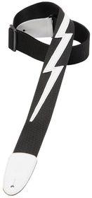 "Levy LLDM5BLK DM5 2"" Polypropylene Guitar Strap With Lightning Bolt - Black"