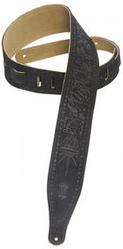 """Levy LLMS17T01BLK MS17T01 2.5"""" Suede Leather Guitar Strap Tooled with Zodiac Design - Black"""