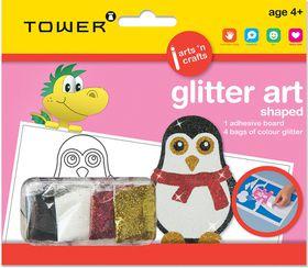 Tower Kids Glitter Art Shaped - Penguin