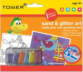 Tower Kids Sand & Glitter Art Greeting Card - Happy B'day (Girl)