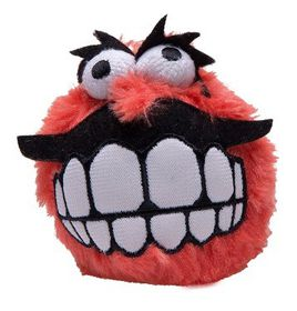 Rogz Grinz Plush Medium Dog Squeak Toy Red - 65mm