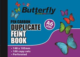 Butterfly A6 Duplicate Book - Feint Plain 200 Sheets