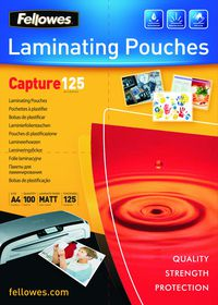 Fellowes Capture125 A4 125micron Matt Laminating Pouches (100 Pack)