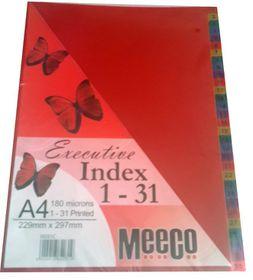 Meeco Executive A4 31 Tab (1-31) Multi Colour Indexes