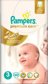 Pampers Premium Care Nappies, Size 3, Value Pack (60 Per Pack)