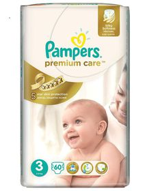 Pampers - Premium Care Nappies - Size 3 - 60 Per Pack