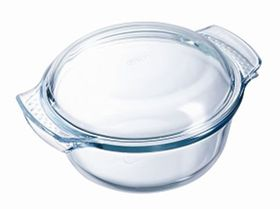 Pyrex - Classic Glass Round Casseroles Easy Grip with Lid - 2.5 Litre + 1 Litre