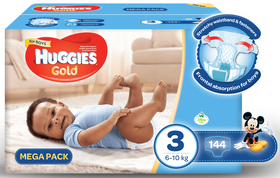 Huggies - Gold Boy - Size 3 - 144 Nappies