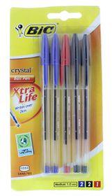 BIC Crystal Medium Xtra Life Ballpoint Pens - Assorted (Blister of 5)