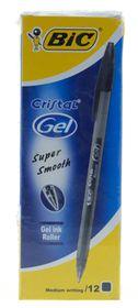 BIC Cristel Gel Medium Pens - Black (Box of 12)