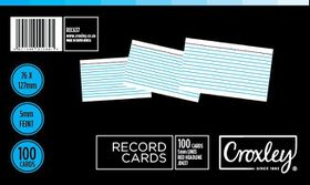 Croxley JD637 Record Cards - Lined (Pack of 100)