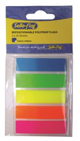 Sello-Flag Repositionable PP Flags - Neon (5 x 25 Sheets)