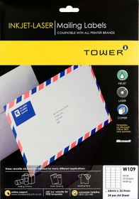 Tower W109 Mailing Inkjet-Laser Labels - Pack of 25 Sheets