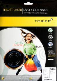 Tower W228 Inkjet-Laser DVD/CD Labels - Pack of 25 Sheets