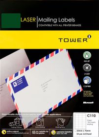 Tower C110 A4 Laser Mailing Labels (Green) - Box of 100 Sheets