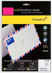 Tower F110 Mailing Inkjet-Laser Labels - Fluorescent Pink - Pack of 25 Sheets