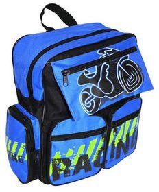 Happy Kids A4 Front Pocket Backpack - Black & Royal