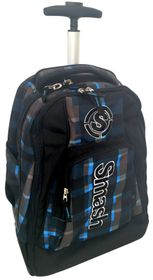 Smash Orthopedic Deluxe 3 Division Plain Trolley Backpack - Black/Blue