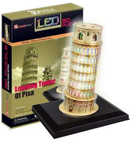 Cubic Fun Pisa Tower Italy - 15 Piece 3D Puzzle with Base & LED Unit