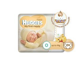 Huggies - My First Nappy - Size 0 - 24 Nappies (up to 4kg)