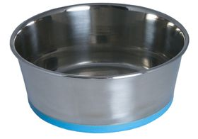 Rogz - Stainless Steel Slurp Dog Bowl - Medium 1050ml - Blue Base