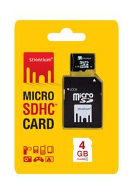 Strontium 4GB Micro SDHC Card with Adaptor - Class 4