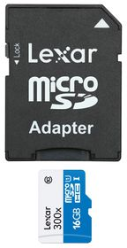 Lexar 16GB 300x Micro SD Card with SD Adapter