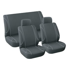 Stingray - Monaco 6 Piece Car Seat Cover Set - Black and Grey
