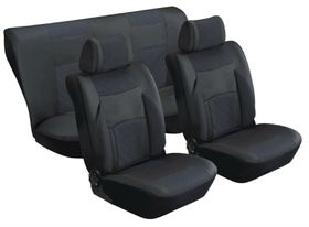 Stingray - Majestic Quilted PU 8 Piece Car Seat Cover Set - Black and Anthracite