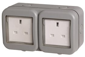 Stingray - IP55 Double SA Socket - Grey