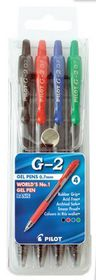 Pilot G2 0.7mm Gel Pens - Wallet of 4 Basic Colours