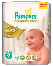 Pampers - Premium Care Nappies - Size 3 - Jumbo Pack (80 count)