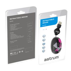 Astrum USB Optical Mouse with Retractable Cable