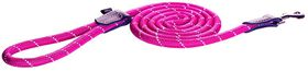 Rogz - 6mm 1.8m Long Fixed Dog Rope Lead - Pink Reflective