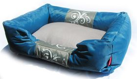 Dog's Life - Waterproof Modern Swirl Summer Bed - Blue - Medium