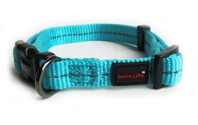 Dog's Life - Reflective Supersoft Webbing Collar - Turquoise - Small