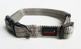 Dog's Life - Reflective Supersoft Webbing Collar - Grey - Extra-Large