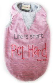 Dog's Life - Stripe Tee Pink - 2XL