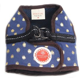 Dog's Life - Polka Dot Harness Vest Blue - Large