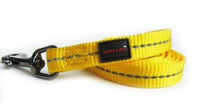 Dog's Life - Reflective Supersoft Webbing Leash - Yellow - Large