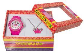 Cool Kids Girls Watch & Tiara Pendant Set in Pink