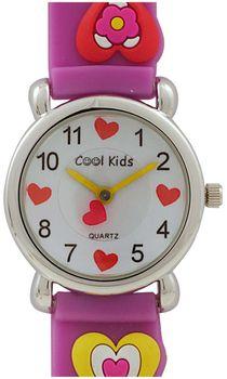 Cool Kids Girls  Round 3-D Hearts Watch in Purple